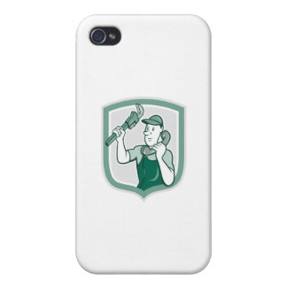 Plumber Monkey Wrench Telephone Shield Cartoon iPhone 4/4S Covers