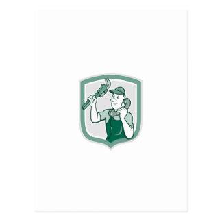 Plumber Monkey Wrench Telephone Shield Cartoon Post Card