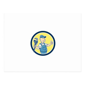 Plumber Monkey Wrench Thumbs Up Cartoon Post Cards