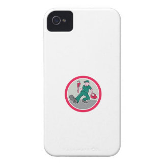 Plumber Monkey Wrench Toolbox Circle Cartoon iPhone 4 Cover