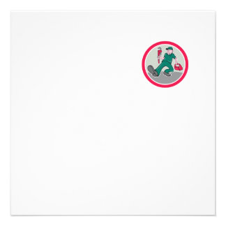 Plumber Monkey Wrench Toolbox Circle Cartoon Personalized Invitation