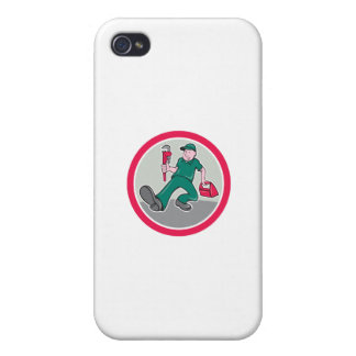 Plumber Monkey Wrench Toolbox Circle Cartoon iPhone 4 Covers