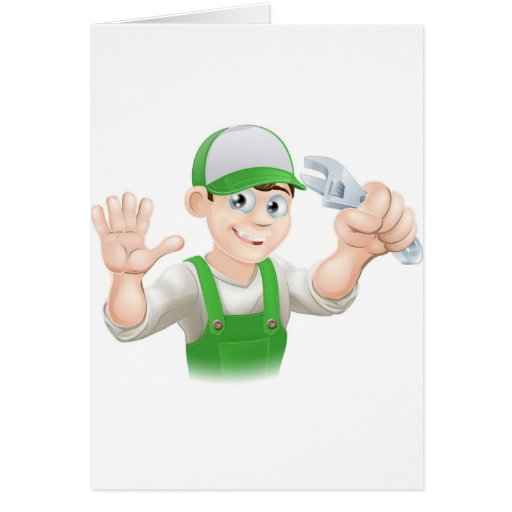 Plumber or mechanic with spanner greeting cards