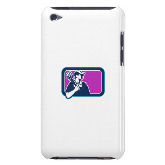 Plumber Pipe Wrench Side Rectangle Retro Barely There iPod Cover