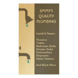 Plumber Plumbing Installation Service Repair Gold Double-Sided Standard Business Cards (Pack Of 100)