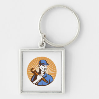 plumber repairman holding pipe wrench woodcut Silver-Colored square keychain