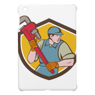 Plumber Running Monkey Wrench Crest Cartoon Cover For The iPad Mini