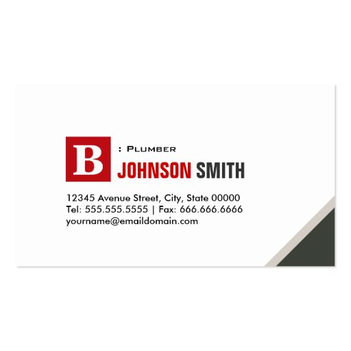 Plumber - Simple Chic Red Business Cards