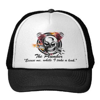 "Plumber Skull: ""Excuse me, while I take a leak"". Trucker Hat"