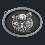 "Plumber Skull: The Plumber Belt Buckle<br><div class=""desc"">A cool plumber skull with pipe wrenches. A great gift for the plumber! Visit www.zazzle.com/plumberskull to see more cool plumber themed skulls!</div>"