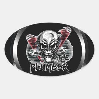 Plumber Skull: The Plumber Oval Sticker