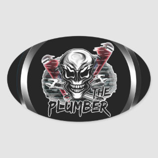 Plumber Skull: The Plumber Oval Stickers