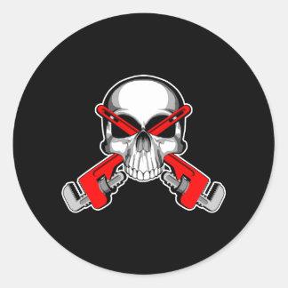 Plumber Skull: Wrench Crossbones Classic Round Sticker