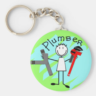 Plumber  stick person design basic round button keychain