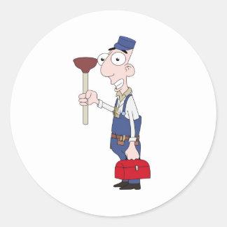 plumber round sticker