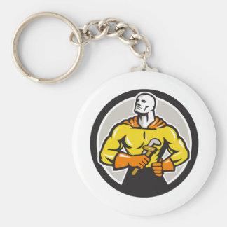 Plumber Superhero Monkey Wrench Circle Retro Basic Round Button Keychain