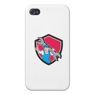 Plumber Thumbs Up Monkey Wrench Cartoon iPhone 4/4S Case