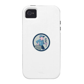 Plumber Toolbox Monkey Wrench Circle Cartoon iPhone 4 Covers