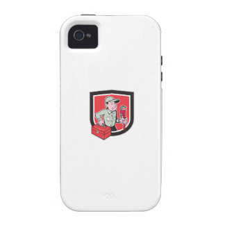 Plumber Toolbox Monkey Wrench Shield Cartoon Case-Mate iPhone 4 Case
