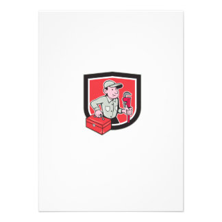 Plumber Toolbox Monkey Wrench Shield Cartoon Announcements