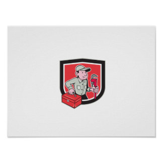 Plumber Toolbox Monkey Wrench Shield Cartoon Posters
