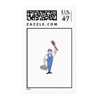 Plumber Toolbox Raising Monkey Wrench Cartoon Postage Stamp