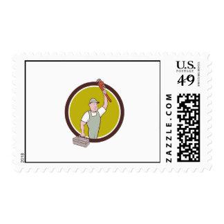 Plumber Toolbox Raising Monkey Wrench Circle Carto Postage Stamp