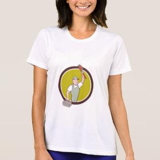 Plumber Toolbox Raising Monkey Wrench Circle Carto T-Shirt