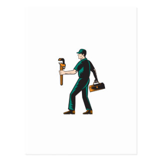 Plumber Walking Carry Toolbox Wrench Woodcut Post Cards