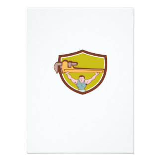 Plumber Weightlifter Monkey Wrench Crest Cartoon Card
