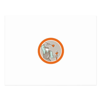 Plumber Wielding Plunger Wrench Circle Cartoon Post Cards