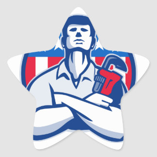 Plumber With Monkey Wrench American Flag retro Star Sticker
