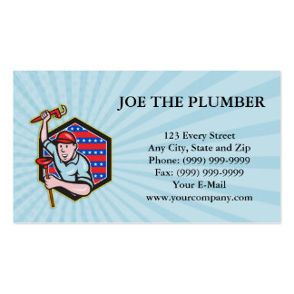 Plumber With Monkey Wrench And Plunger Cartoon Pack Of Standard Business Cards