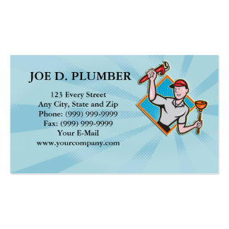 Plumber With Monkey Wrench And Plunger Cartoon Double-Sided Standard Business Cards (Pack Of 100)