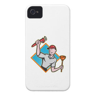 Plumber With Monkey Wrench And Plunger Cartoon iPhone 4 Case-Mate Case