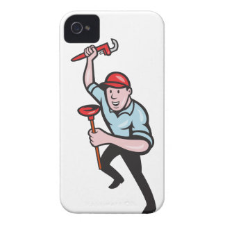Plumber With Monkey Wrench And Plunger Cartoon iPhone 4 Case