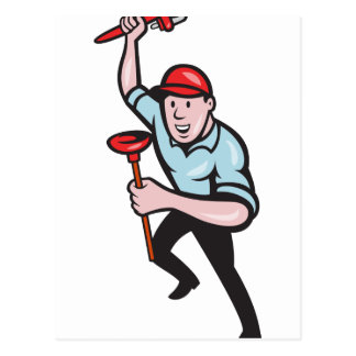 Plumber With Monkey Wrench And Plunger Cartoon Post Card