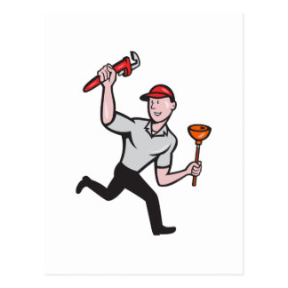 Plumber With Monkey Wrench And Plunger Cartoon Post Cards