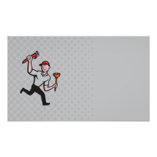 Plumber With Monkey Wrench And Plunger Cartoon Poster