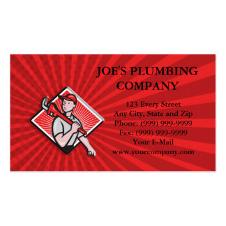 Plumber With Monkey Wrench Cartoon Pack Of Standard Business Cards