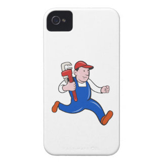 Plumber With Monkey Wrench Cartoon iPhone 4 Covers
