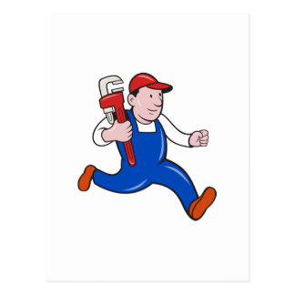 Plumber With Monkey Wrench Cartoon Postcards