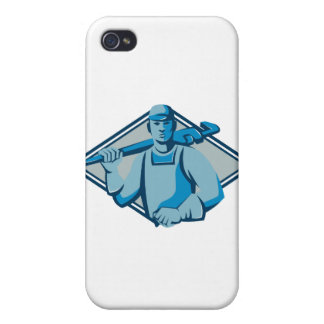 plumber with monkey wrench retro iPhone 4/4S covers