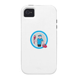 Plumber With Monkey Wrench Toolbox Cartoon Case-Mate iPhone 4 Case
