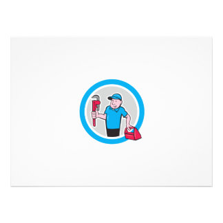 Plumber With Monkey Wrench Toolbox Cartoon Personalised Announcements