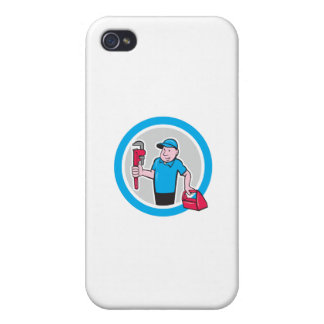 Plumber With Monkey Wrench Toolbox Cartoon iPhone 4/4S Cover