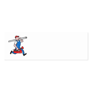 Plumber With Pipe Toolbox Cartoon Business Card