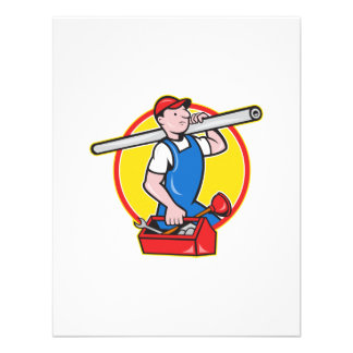 Plumber With Pipe Toolbox Cartoon Invite