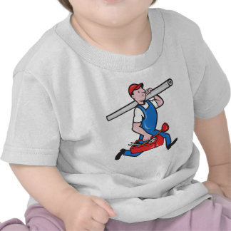 Plumber With Pipe Toolbox Cartoon Tee Shirt