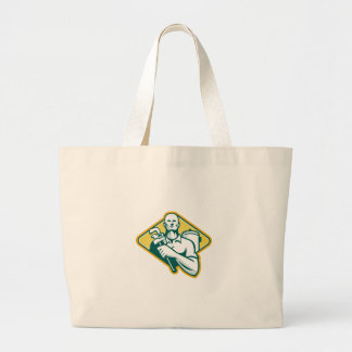 Plumber with Wrench and Hot Water Cylinder Retro Large Tote Bag